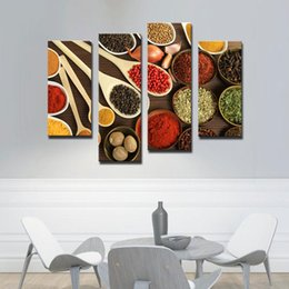 Wholesale Canvas Kitchen Wall Art - 4 Picture Combination WALL ART Bowls with Different Spices Paintings Picture Printed On Canvas The Picture For Living room Kitchen Decor