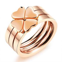 Anéis de noivado lisos on-line-ZHF JÓIAS Amor Coração 3-em-1 Anel de Casamento de Aço Inoxidável Mulheres Rose Banhado A Ouro Suave 4 Trevo Anéis de Noivado de Jóias FGJ497