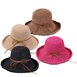 Wholesale Good Sun Hats For Men - Wholesale- Good Trendy Fancy Charming Boho Solid Hats for Women's Wide Brim Caps Foldable Summer Beach Sun Straw Hats