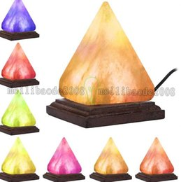 Wholesale Light Ornaments - Salt Lamp Table Desk Lamp Night Light Pyramid Crystal Rock Wooden Lamp Bedroom Adornment Home Room Decor Crafts Ornaments Gift MYY