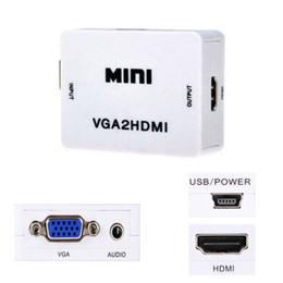 Wholesale Audio Video Converter Box - 1080P Mini VGA To HDMI Audio Video Converter Box VGA2HDMI Adapter For HDTV PC Laptop DVD High Quality