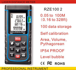 Wholesale Ranging Level - Wholesale-Free Shipping 100M(328ft) E100 -5 Laser distance meter with bubble level Rangefinder Range finder Tape measure wholesale OEM