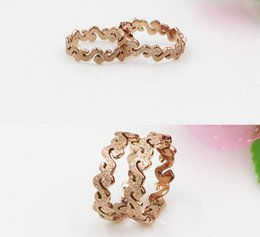 Wholesale Polish Rose Ring - Rose gold frosted S shape rings stainless steel dull polish rings on sale