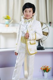 Wholesale boys wool tuxedo - New Fashion Boys Suits Ring Bearer White Tuxedos for Children 2016 Wedding Party Prom Kids Formal Wears with Gold Purfle(Jacket+Pants+Bow)