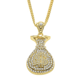 """Wholesale Micro Glitter - 18K Gold Silver Plated Iced Out Micro Pave Set Cz Glitter Cash Money Bag $ Pendant 28"""" Cuban Chain Hip Hop Necklace"""