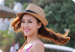 Wholesale Wide Brim Visors For Women - 2016 Wide Brim Sun Hats for Women Men Jazz Caps Panama Fedoras Unisex Top Beach Visor Hat Straw Cap Brief Solid Free Shipping