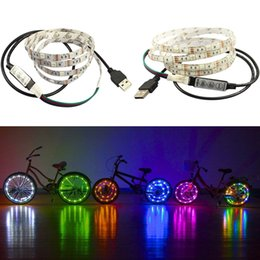 Wholesale Pc Tv Cable - DC5V double PCB 1-5m SMD 5050 RGB 60 led Flexible Strip 3M tape diodes lamp+USB Cable Port+3key controller for TV Background Mood Light