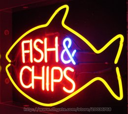 "Wholesale Chip Office - Fish & Chips Neon Sign Restaurant Sea Food Handcrafted Custom Indoor Real Glass Tube Advertisement Display Sign 19""X13"""