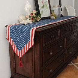 Wholesale Flag Mats - 33*180Cm Decorative American Flag Table Mats Television Drop Cloth Tea Table Mat Countryside Long Runner Placements For Home Decoration