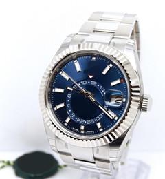 Wholesale Mens Watc - New Top High Quality Wrist watc Men's Sky-Dweller 326934 42 MM Blue Dial Stainless Steel Automatic Mechanical Mens Watch Watche