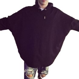 Wholesale Branded Poncho Capes Cloaks - Fashion Brand Mens batwing sleeved Black Sweatshirts Loose Fit Cape Poncho Outwear Loose Hooded Cloak
