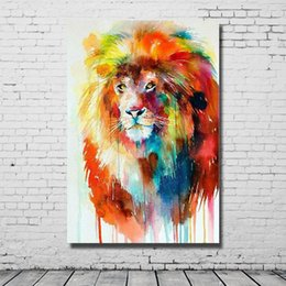 Wholesale cheap wall art paintings - Beautiful Oil Color Abstract Lion Art Painting Hand made Canvas Oil Painting Living Room Wall Decor Cheap Modern Animal Pictures No Framed