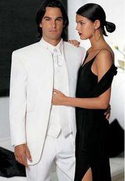 Wholesale Blue Dinner Suit - Brand New Groom Tuxedo White Groomsmen Mandarin Lapel Wedding Dinner Suits Best Man Bridegroom (Jacket+Pants+Vest)
