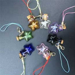 Wholesale Mini Handmade Glass Bottles - Mini Corks Glass Bottles With Lobster Clasp Key Chains Small Stars Shaped Vials Handmade Gift Jars Pendants Mix 7 Colors