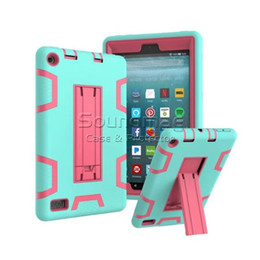 Wholesale kindle fire cases pink - 3-IN-1 Silicone Kickstand Armor Shockproof Heavy Duty Rugged Drop Resistance Cover Case For kindle fire7 2017 Samsung tab S3 P580