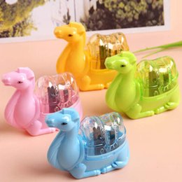 Wholesale Wholesale Plastic Pencil Sharpeners - 10 pcs lot Cute Animal Plastic Pencil Sharpener Double Holes Sharpener Stationery Free Shipping Material Escolar
