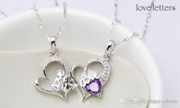 Wholesale Amethyst Heart Jewelry - Wholesale Newest S925 sterling silver heart-shaped crystal pendant necklace fashion jewelry chain clavicle short paragraph two color