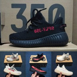 Wholesale Baby Boy Spring Autumn - Baby Kids Run Shoes Kanye West SPLY 350 Running Shoes Boost V2 Children Athletic Shoes Boys Girls Sneakers Black Red Cream White Zebra