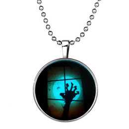 Wholesale Vintage Shadow - Fashoin NEW Moon Ghost Hand HALLOWEEN Necklaces Steampunk Fire Glow In The Dark vintage Glowing Shadow Pendant Necklace 152N77