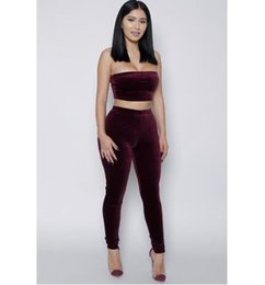 Wholesale Cropped Jumpsuits - Women's Sexy 2 Piece Sets Sport Jumpsuits 2016 Casual Ladies Skinny Corduroy Bodysuit Rompers Crop Tops And Pants SD10