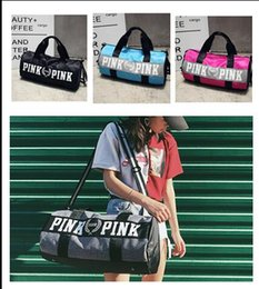 Wholesale Food Sundries - 2017 Newest Women Handbags Pink Letter Large Capacity Travel Duffle Striped Waterproof Beach Bag Shoulder Bag 50pcs