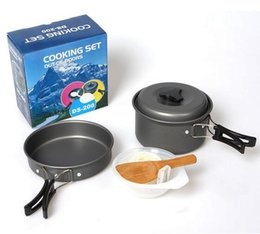 Pot di zaino in alluminio online-Leggero campeggio Backpacking Pot Pan Bowl Set da cucina, portatile anodizzato in alluminio da cucina Ware Pentole Picnic Bowl Pot Pan Kit