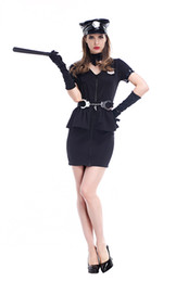 Wholesale Police Belts - Hot Sexy Women Black Police Cop Costume Halloween Fancy Dress Policewomen Uniform Outfit Including Hat Neck Necklace Fake Gloves Belt Hand