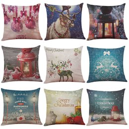 Wholesale Pillowcase Printing Wholesale - Christmas Wish Series Linen Cushion Cover Home Office Sofa Square Pillow Case Decorative Cushion Covers Pillowcases Without Insert(18*18)