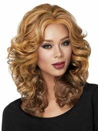 Parrucca per capelli Middle Wave da donna di nuovo arrivo Parrucca sintetica bionda di colore Parrucca di moda per donne europee e americane da yaki parrucca media fornitori