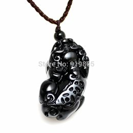 Wholesale Pi Jewelry - AAAA+ natural Obsidian pi xiu pendant black crystal Obsidian pendant fashion jewelry wholesale