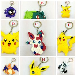 Wholesale Silicone Toys Japan - Factory Price Pocket Monster keychain Poke Go Silicone Pendant Pikachu Red Ball Keychain Cartoon Alloy Figures Japan Craft Xmas Gifts Toy