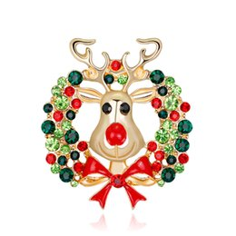 Wholesale Reindeer Brooch - Christmas Brooch Pins Multicolor Rhinestone Enamel Bowknot Reindeer Brooches For Women Party Xmas Gift Jewelry Gold Plated