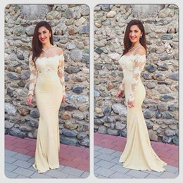 Wholesale Cheap Celebrity Party Dresses - 2017 Yellow Sexy Mermaid Prom Dresses With Long Sleeves Cheap Lace Evening Party Dress Off Shoulders Celebrity Gowns Satin Robe De Soiree