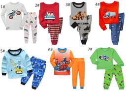 Wholesale T Shirt Pajamas - Kids Pajamas Boys Long Sleeve Car Pattern Pajamas sets T-shirt+pants 2 pieces Kids Leisure Wear 6 sets l