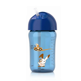 Palhas da escola on-line-AVENT 340 ml / 12 oz BPA Livre Dos Desenhos Animados Do Bebê Copo De Palha Beber Garrafa De Água De Alimentação Da Criança Do Copo para 18 bocas + Escola de Viagem Do Bebê Usando