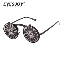 Wholesale Personality Glasses For Women - Steam Punk Gothic Vintage Clamshell Sunglasses Personality Clamshell Glasses for Men and Women Metal Punk Sunglasses EJ882SG