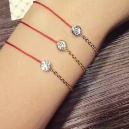 Wholesale Thin Chain Bracelets For Women - 2016 Hot Chinese Style Jewelry Thin Red Thread String Rope Cute Bear Bracelets bangles for women With Genuine Austrian Crystal Bear Jewelry