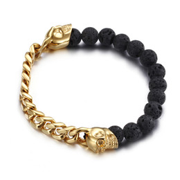 Wholesale Wholesale Gold Skull Bracelets - 3pcs lot Double Skull Beads Bracelet Jewelry, Natural Volcanic Stone with Steel Curb Chain Bracelets For Men