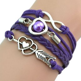Wholesale Braided Leather Bracelet Directions - Wholesale-One Direction Sideways Love Heart Infinity Leather Bracelets & Bangles Weave Braided Multicolor Women id bracelet BL-00755
