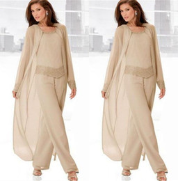 Wholesale Pants Suits For Ladies - 3 Pieces Pant Suits Mother Of The Bride Pant Suits with Jacket mother bride gowns for Women Lady Mother chiffon trouser suits Customize