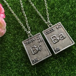 Wholesale Bad Women - Breaking Bad Necklace Chemical Symbol Br Ba 2 square Pendants Couple Necklaces women men statement jewelry Christmas gift 160560
