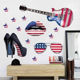 refrigeradores medianos Rebajas Nueva moda 3D impreso pegatinas de pared de estilo americano decoración dormitorio houseroom pegatinas casa decoración del hogar Material seguro de PVC ecológico