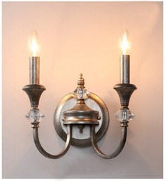 Wholesale Iron Candle Wall - K9 Crystal Wrought Iron Candles Wall Lamps Vintage Simple Art Deco Wall Lamp Bedroom Bedside Light Mirror Front Lamps