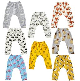 Wholesale fox clothing brand - Baby Flamingos Leggings pants Animal Printed Harem Pants Cartoon PP Pants Fox Penguin Tights Fashion Casual Trousers kid Clothing KKA2373