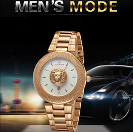 Wholesale Lion Gifts For Men - America Tough guy style mens Domineering gold watches luxury fashion lion design full steel date display quartz wrist watch for men gift