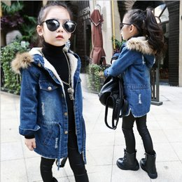 Wholesale Velvet Jackets For Kids - Winter Children Outerwear Warm Coat Kids Clothes Windproof Thicken With velvet Baby Girls Denim Jackets Windbreake For 4-14T