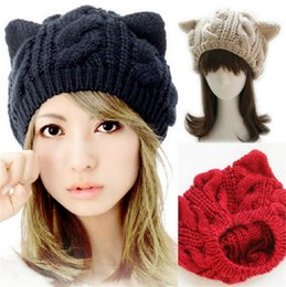 Wholesale Red Knit Beret - Cute Cat Beanie Hat New Korean Fashion Cute Cat Ears Hats for Women Knitting Warm Lovely Beanies Winter Berets knitted Cap