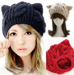 Wholesale Cute Caps For Women - Cute Cat Beanie Hat New Korean Fashion Cute Cat Ears Hats for Women Knitting Warm Lovely Beanies Winter Berets knitted Cap