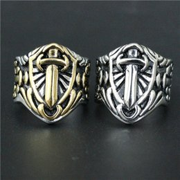 Wholesale Silver Sword Ring - Size 7-14 Mens Womens 316L Stainless Steel Jewelry Silver Golden Sword Shield Ring Good Quality Special New Biker Ring