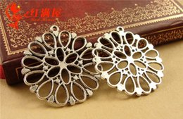 Wholesale Tibetan Filigree Beads - A3645 32.5MM Antique Bronze Hollow filigree flower charm pendant beads, DIY jewelry wholesale factory outlets, tibetan silver charms